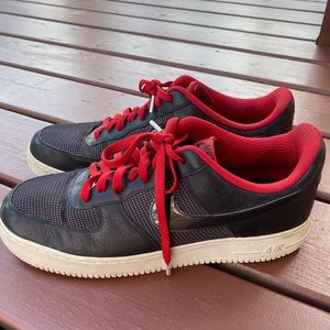 Black and Red Air Forces with Grey tinted soles